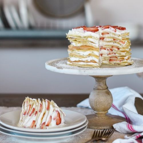 Strawberry & Cream Crepe Cake