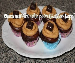 Choco Muffins With Peanutbutter Topping Recipe