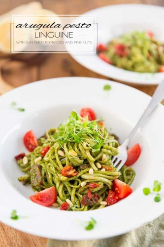 Arugula Pesto Linguine with Sun Dried Tomatoes and Pine Nuts
