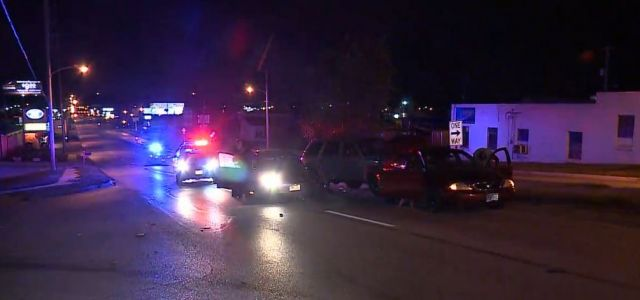 1 hurt in crash involving 3 vehicles
