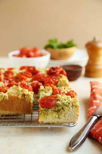 Sweet Laurel's Grain-Free Savory Coffee Cake with Roasted Tomatoes