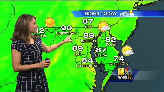 Sunny, temps in high 80s Monday