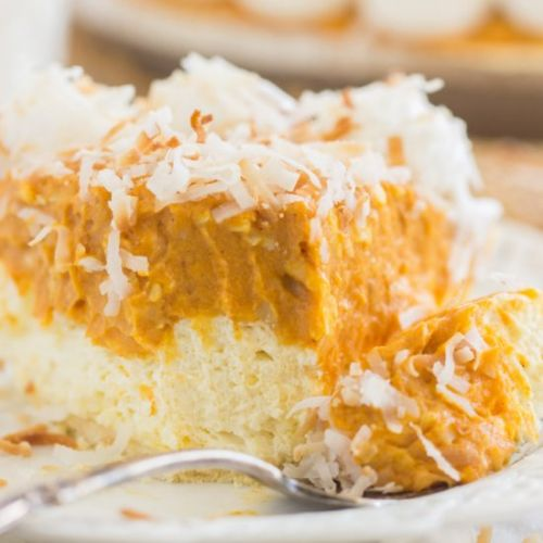 No Bake Coconut Pumpkin Cheesecake
