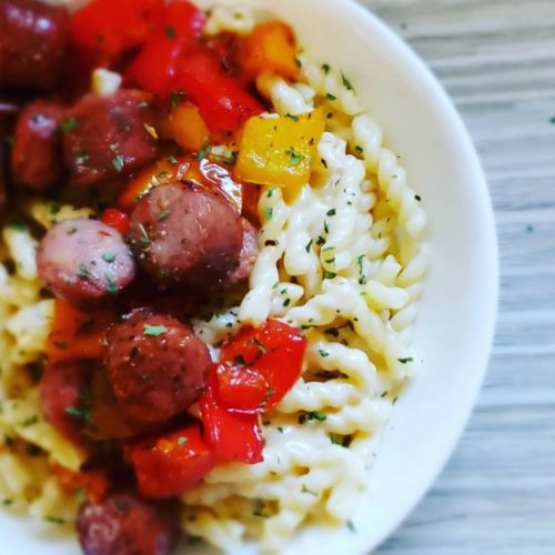 Sausage & Peppers Beer Cheese Pasta