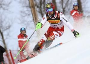 Hirscher wins slalom, leads Austrian clean sweep