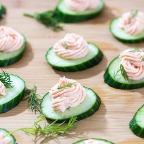 Salmon and Goat Cheese Cucumbers